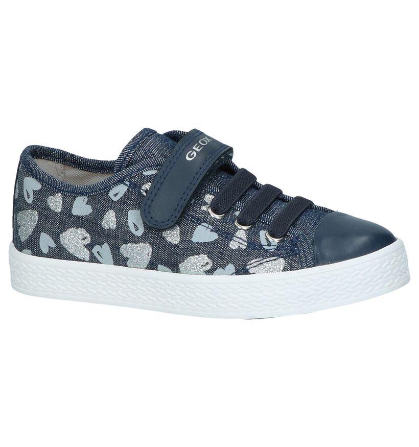 Donkerblauwe Sneakers met hartjes Geox in stof (237970)