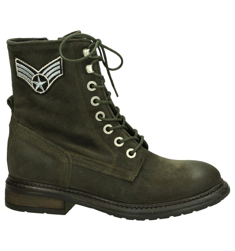 Kaki Army Boots Miss Rose in nubuck (203047)