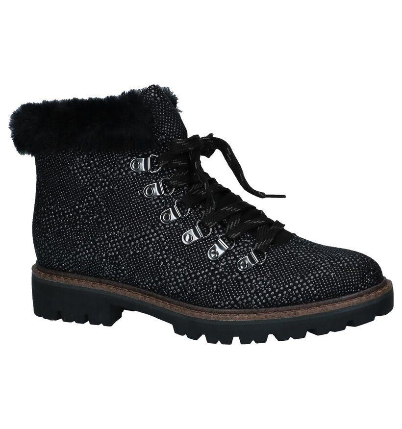 Marco Tozzi Boots met Rits/Veter Zwart in stof (226310)