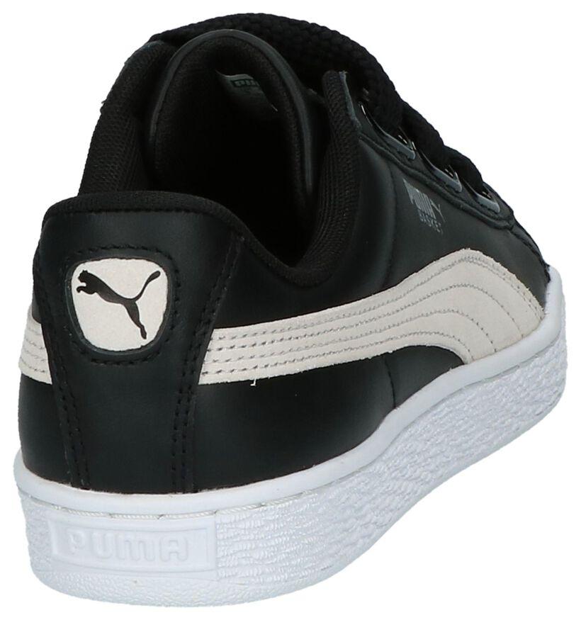 Puma Basket Heart Lage Sneakers Zwart in leer (199464)