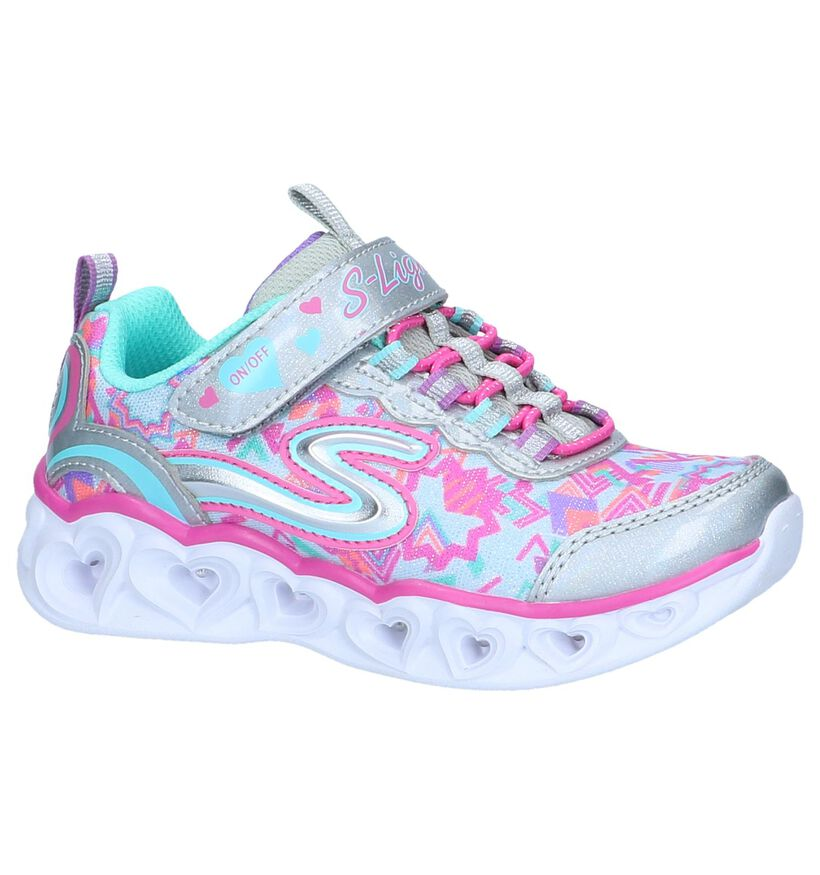 Skechers Heart Lights Zwarte Sneakers in stof (265173)