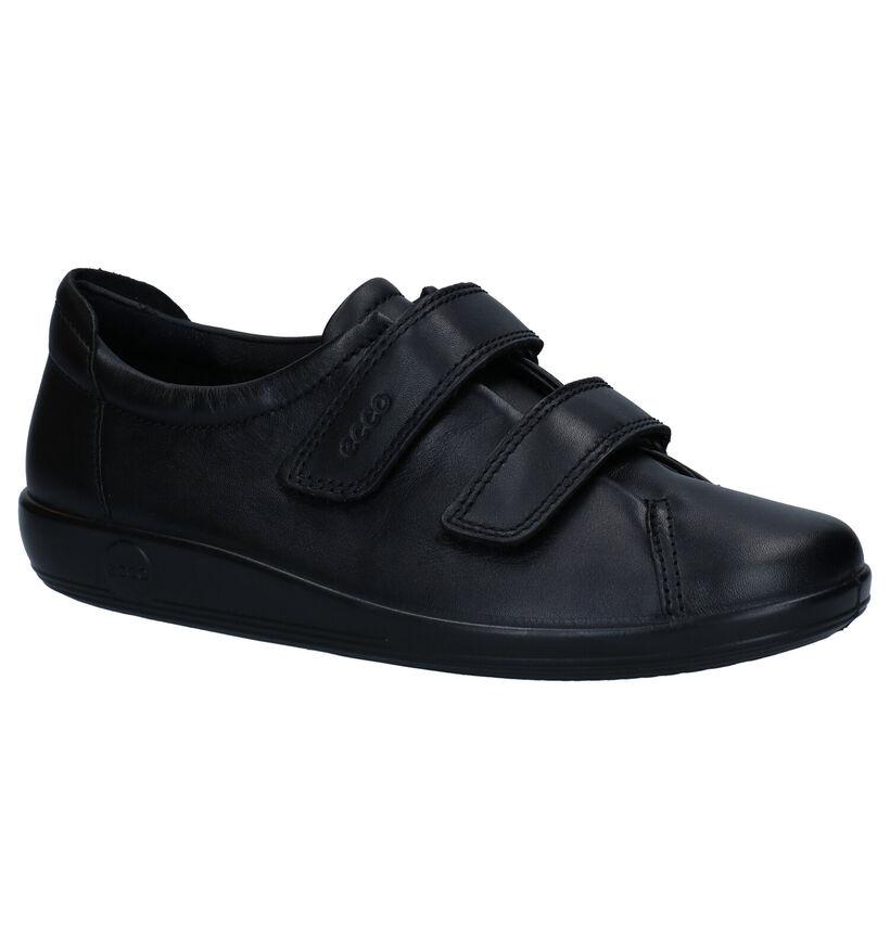 Ecco Soft 2.0 Zwarte Klittenbandschoenen in leer (269707)