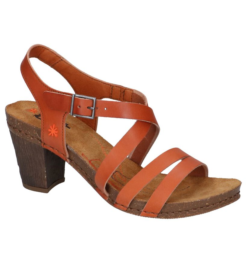 Cognac Sandalen Art in leer (243845)
