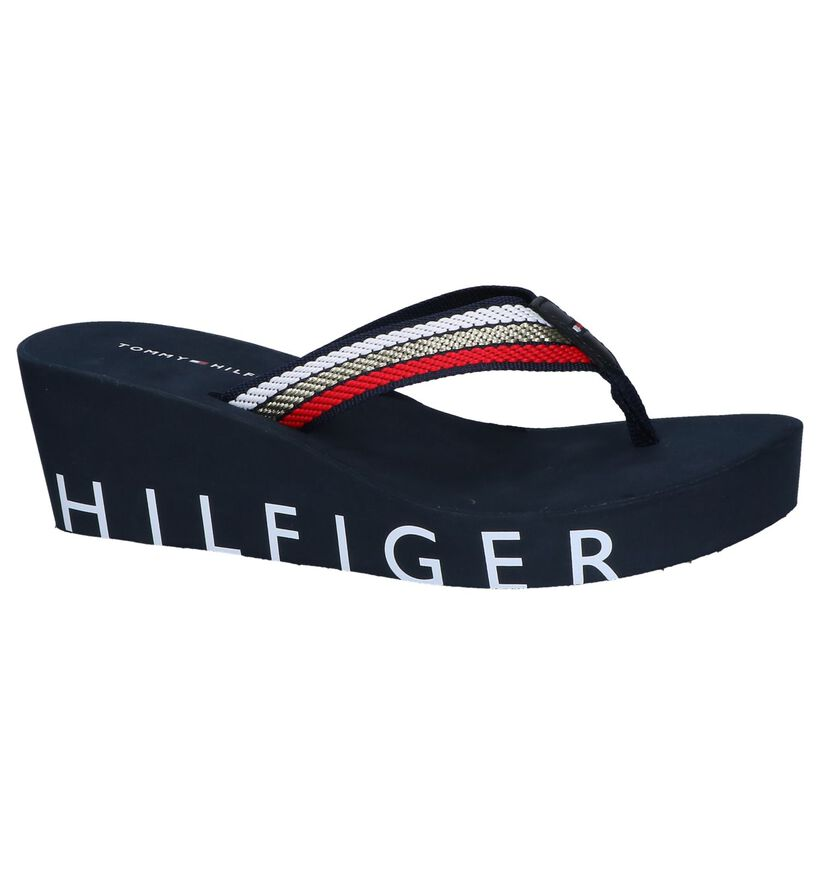 Donkerblauwe Teenslippers Tommy Hilfiger Iconic Wedge in stof (242128)