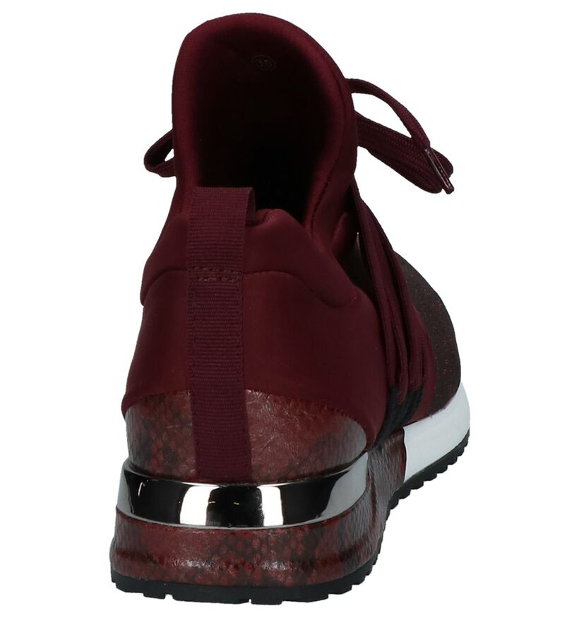 La Strada Sneakers met Glitter Bordeaux in stof (229889)