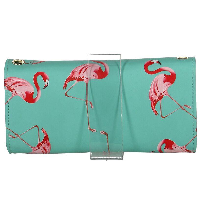 Shagwear Flamingo Turquoise Clutch Tasje in kunstleer (232856)