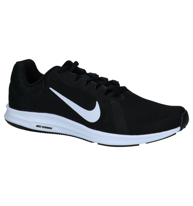 Nike Downshifter Lage Sneakers Zwart in stof (234102)