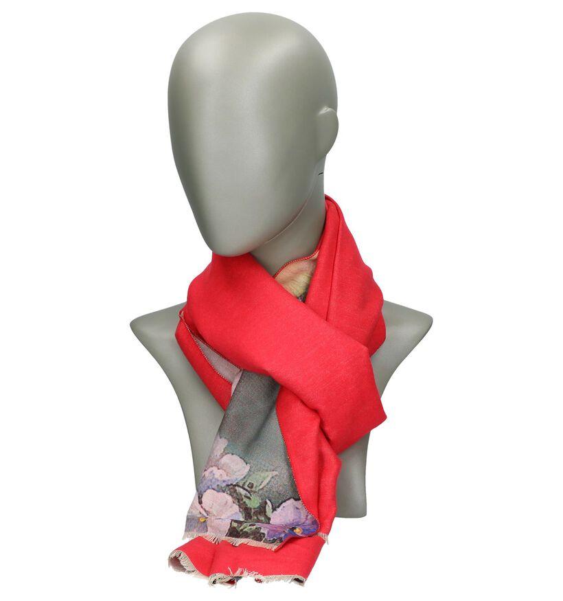 Rode Sjaal met Bloemenprint Pia Rossini Delilah (235202)