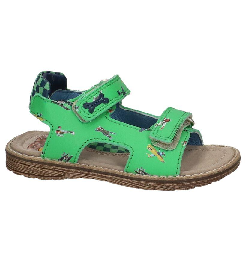 Groene STONES and BONES Sandalen met Vliegtuigjes in leer (212029)