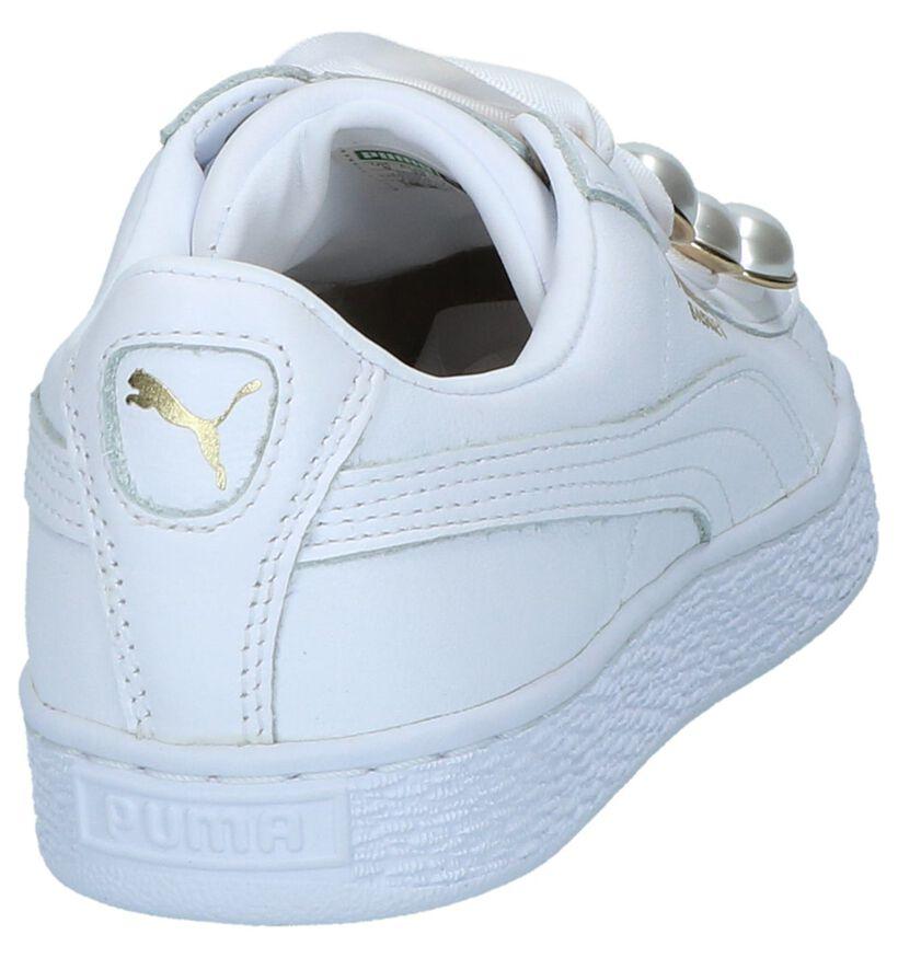 Puma Basket Bling Witte Sportieve Sneakers in leer (221661)