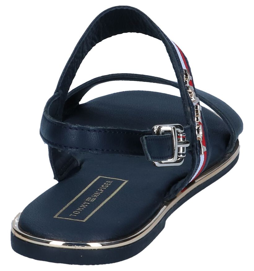 Donkerblauwe Sandalen Tommy Hilfiger Flat Corporate Ribbon in leer (241780)