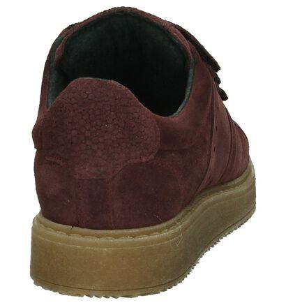 Bordeaux Sneakers met Klittenband Shoecolate in daim (192738)