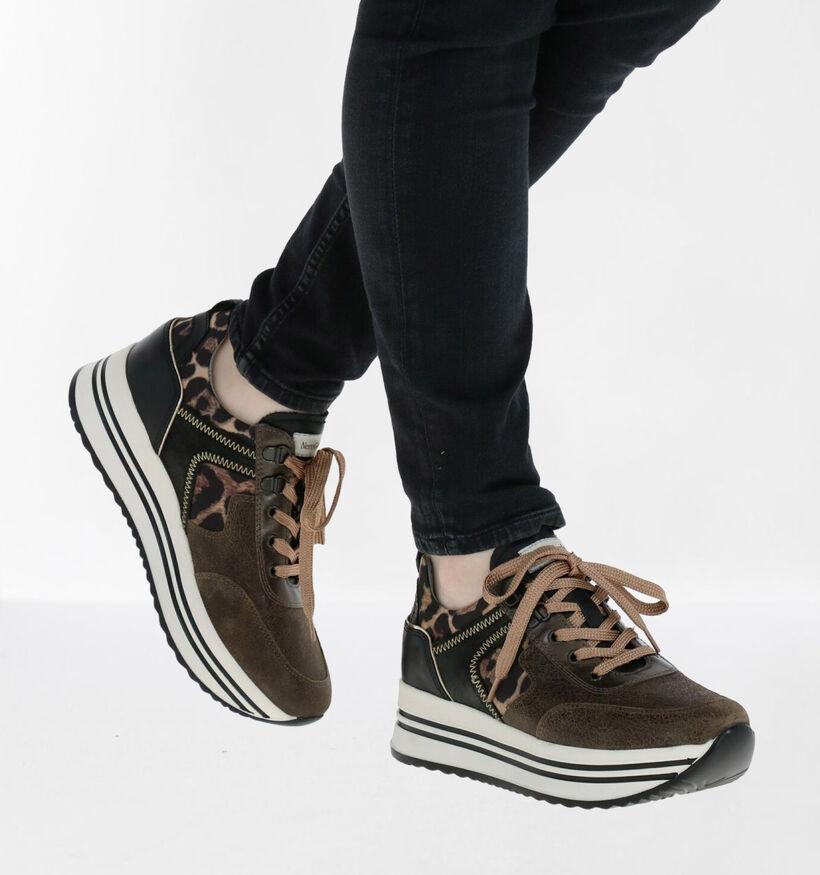 NeroGiardini Kaki/Zwarte Sneakers in kunstleer (281741)
