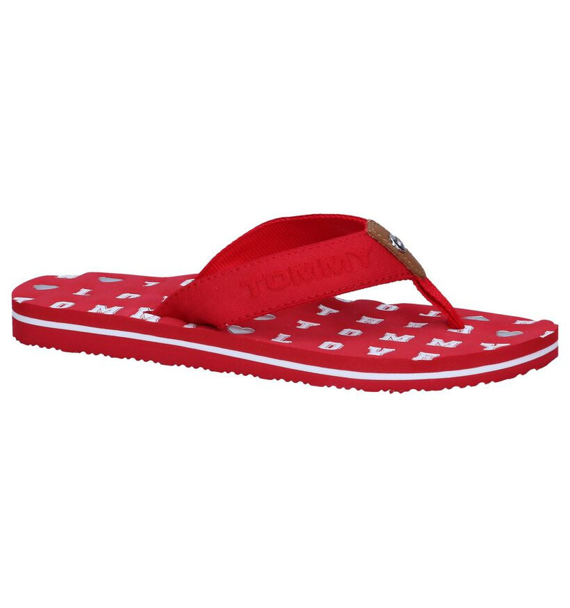 Rode Teenslippers Tommy Hilfiger Flat Beach in stof (242135)