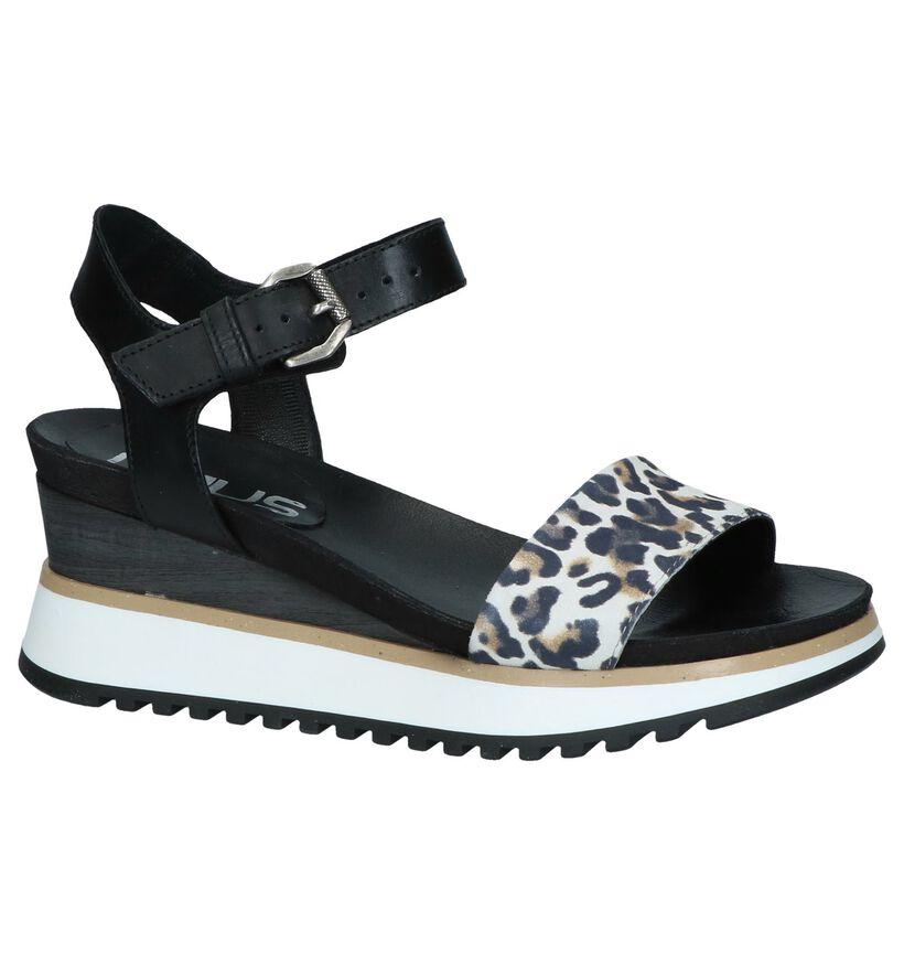 Zwarte Sandalen met Sleehak Mjus in leer (243075)