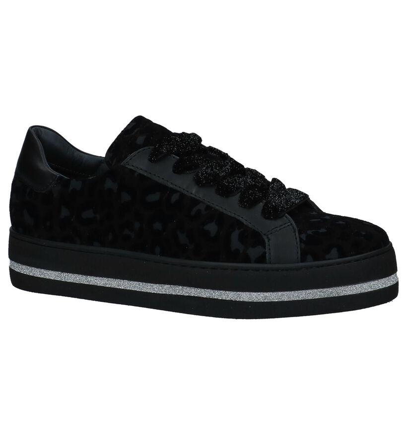 Zwarte Lage Sneakers met Luipaardprint Maripé in daim (230569)