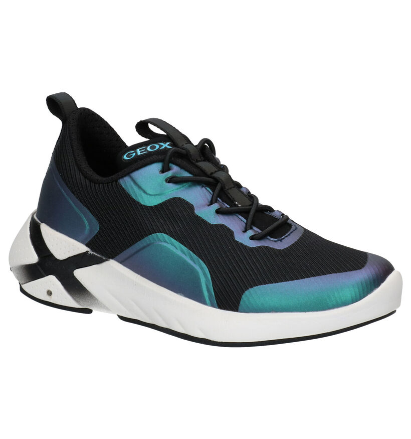Geox Playkix Zwarte Sneakers in stof (284107)