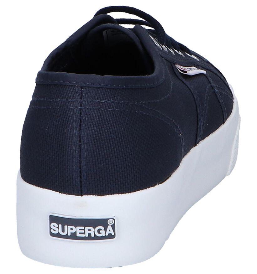 Donkerblauwe Lage Sneakers Superga Cotu in stof (243139)