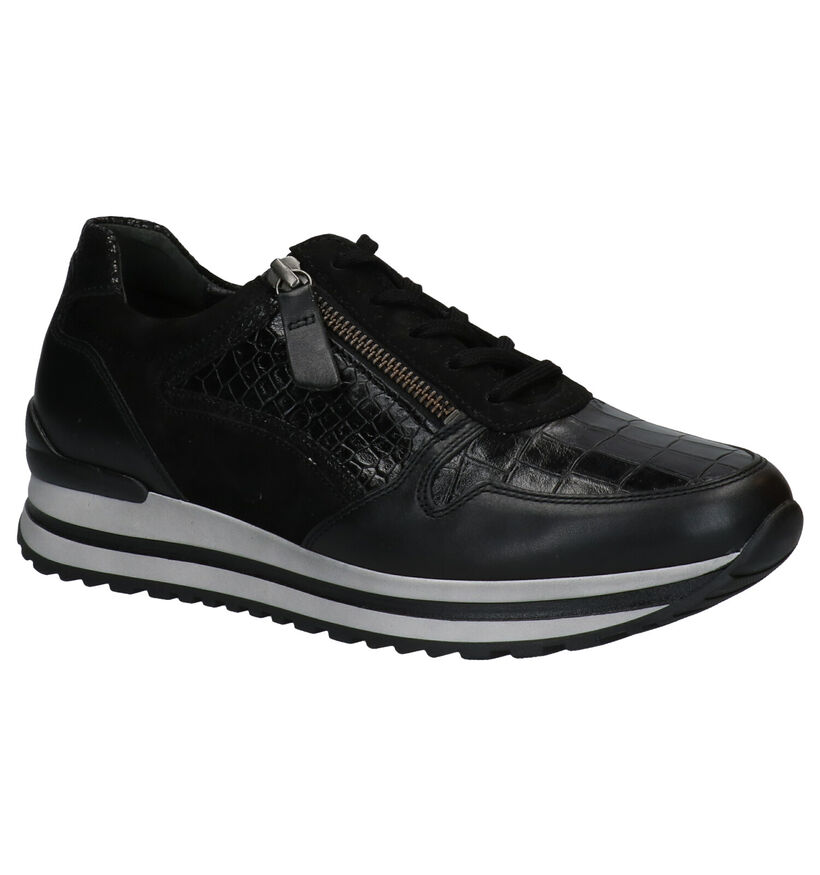 Gabor OptiFit Zwarte Sneakers in leer (282312)