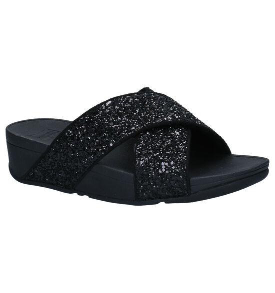 FitFlop Lulu Glitter Zwarte Slippers
