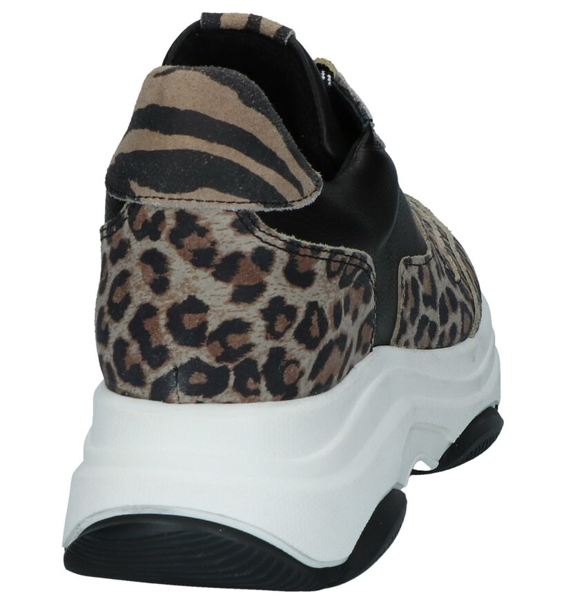 Zwarte Nineties Sneakers met Luipaardprint SPM Katrie in daim (247461)