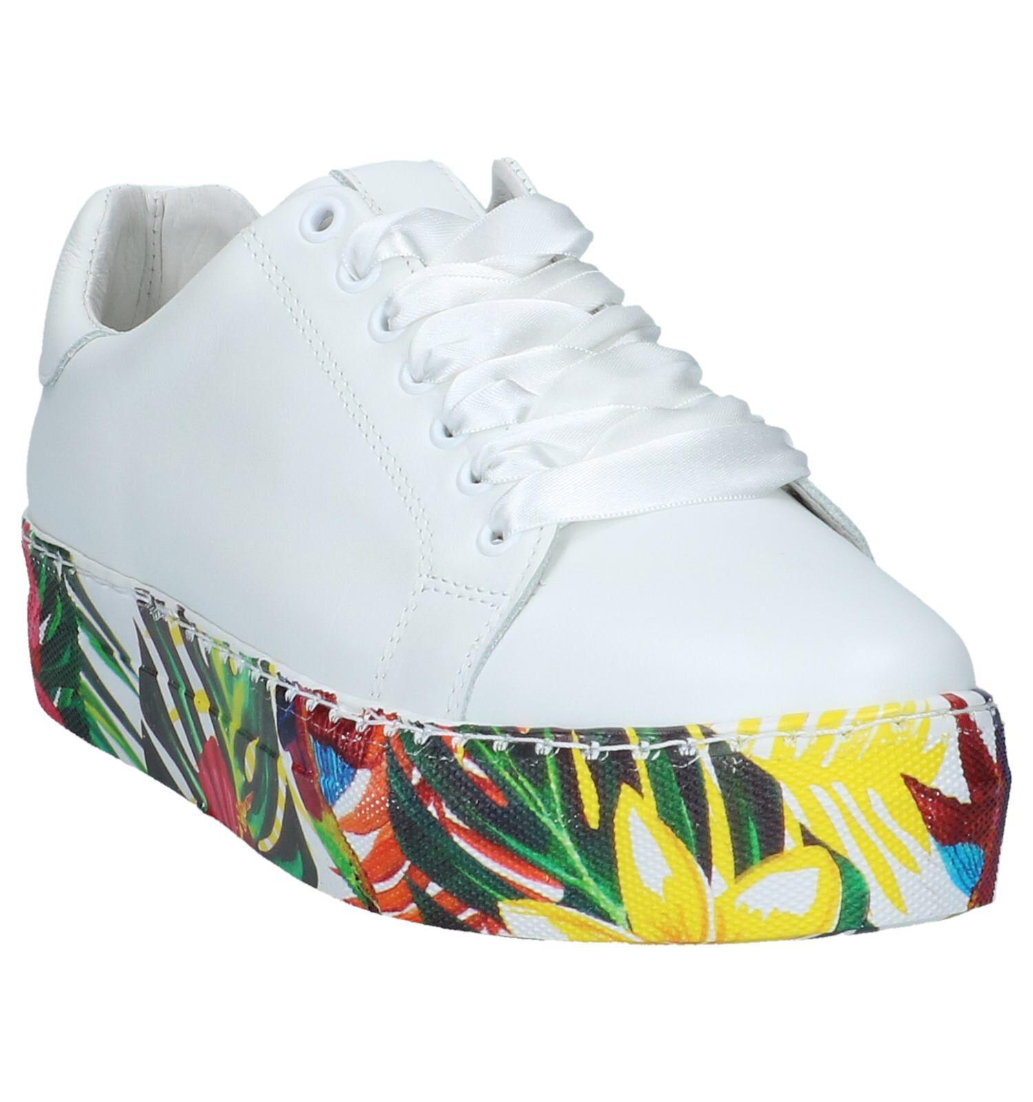 Witte Lage Geklede Sneakers met Bloemen Via Limone by Amalia by Torfs