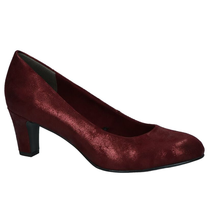 Bordeaux Metallic Pumps Tamaris in fluweel (226700)