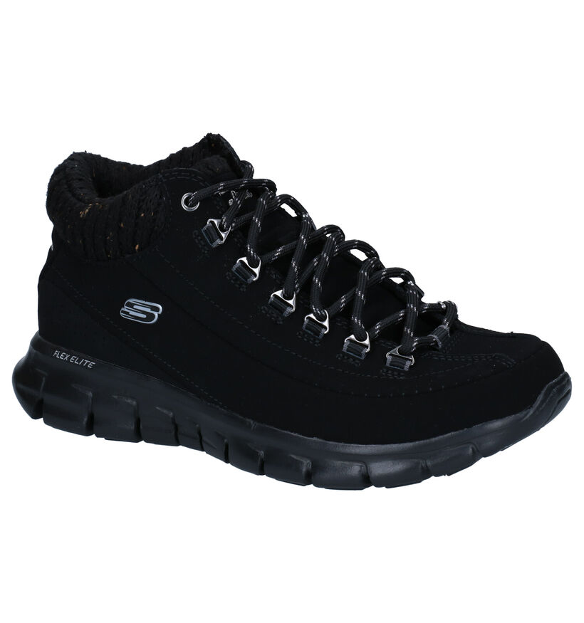 Skechers Synergy Winter Nights Zwarte Sneakers in kunstleer (279395)