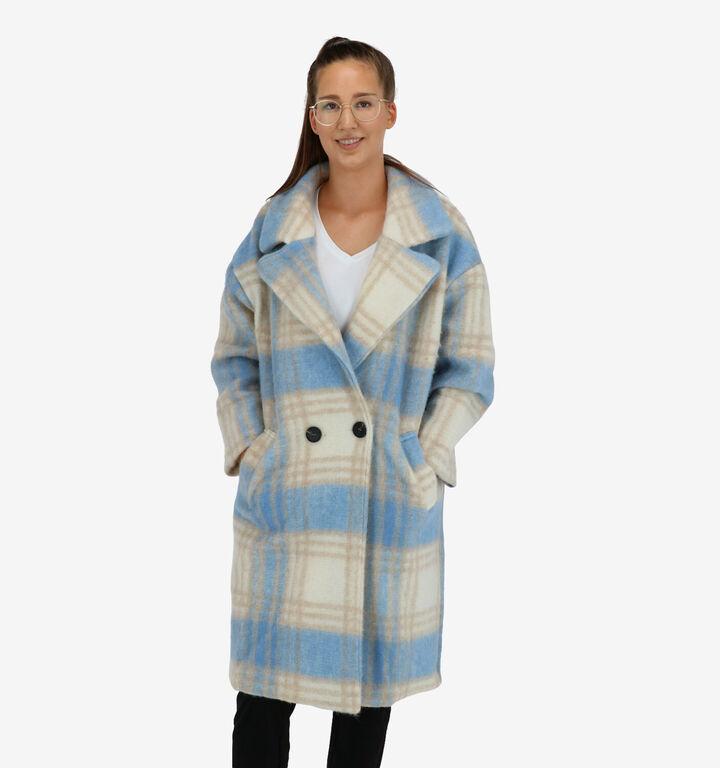 Garçonne Blauw/Beige Mantel
