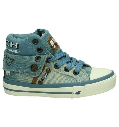 Mustang Blauwe Hoge Sneaker, Blauw, pdp