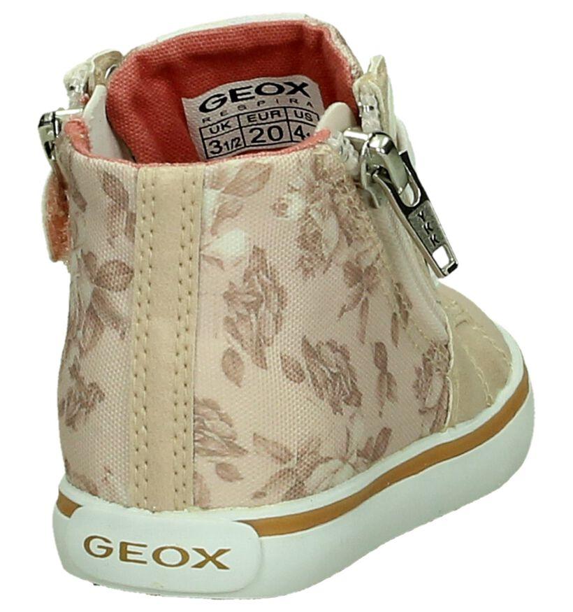 Geox Rits/Veter Hoge Sneaker Roze met Bloemen in stof (190718)