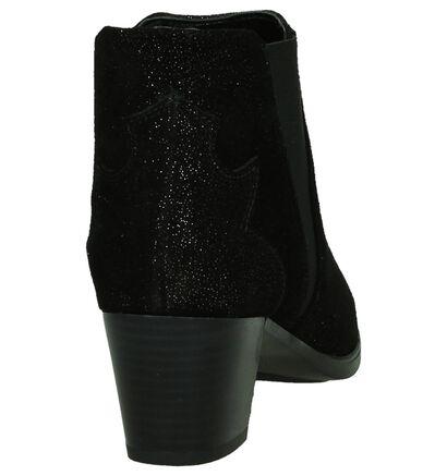 Flair Zwarte Enkellaarzen met Glitters in daim (181458)