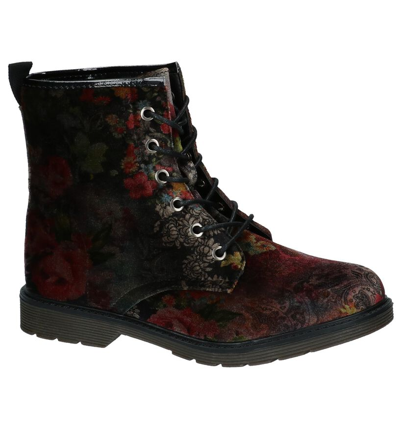 Multicolor Boots met Bloemenprint Monshoe in fluweel (218663)