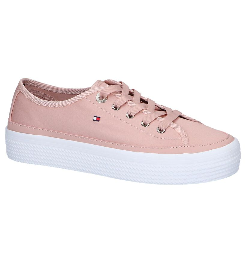 Roze Sneakers Tommy Hilfiger Corporate Flatform in stof (241821)