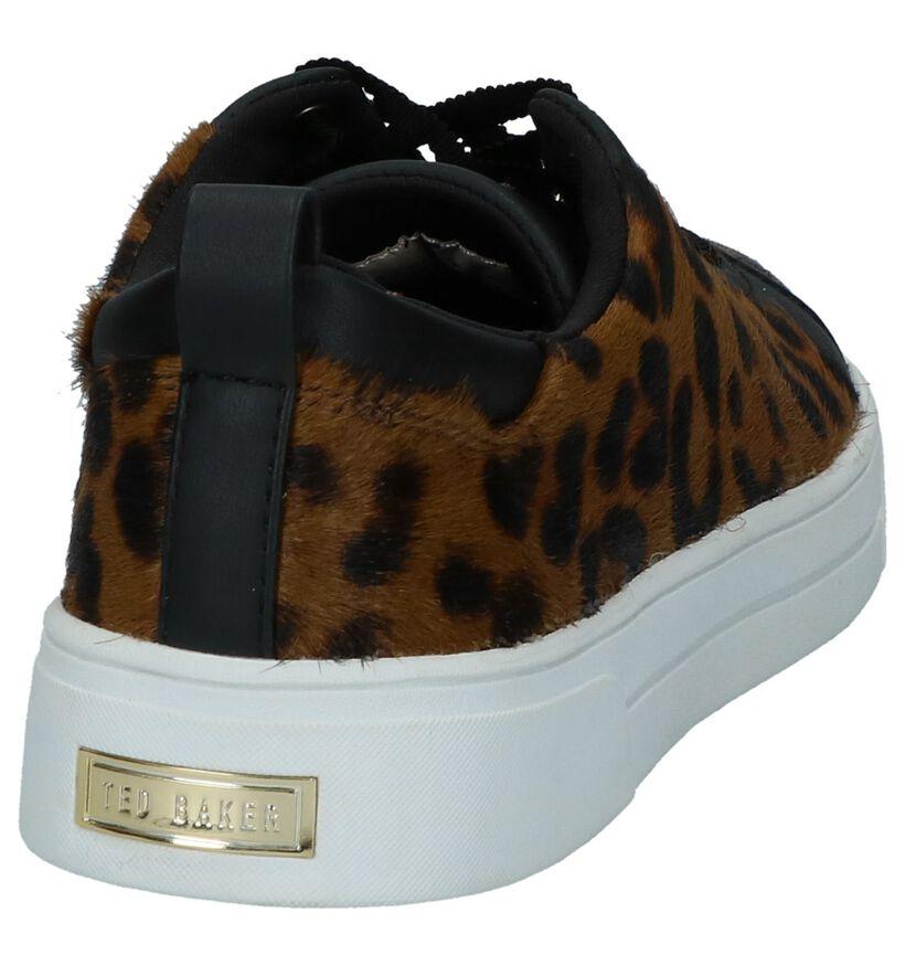 Ted Baker Elzseel Zwarte Sneakers met Luipaardpint in leer (236004)