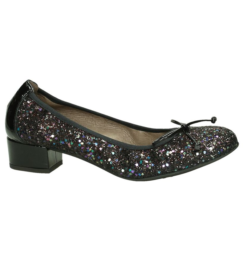 Wonders Zwarte Glitter Pumps in leer (185563)