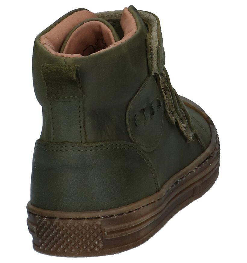 Kaki Boots met Klittenband Hampton Bays by Torfs in leer (224197)