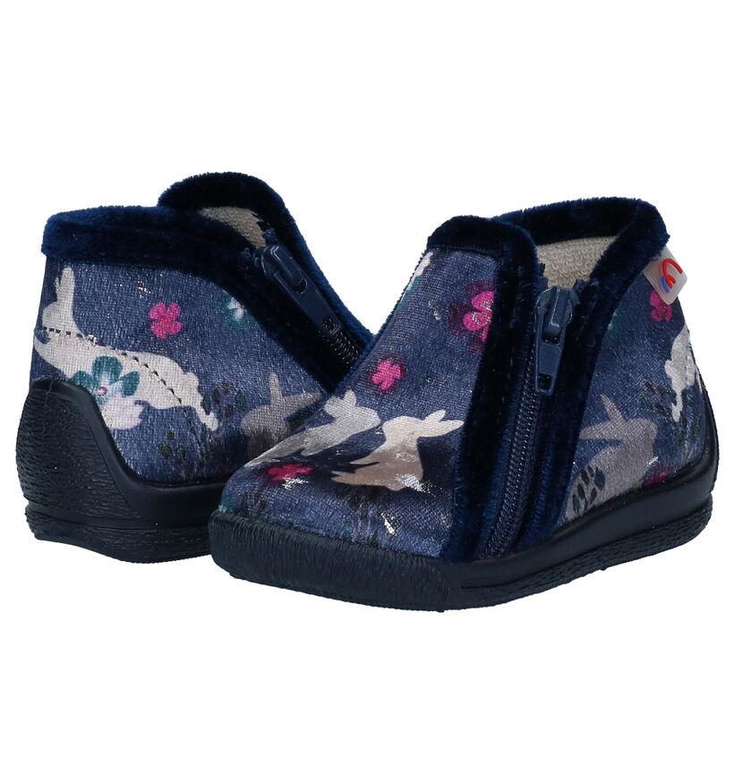 Bellamy Vickie Blauwe Pantoffels in stof (283980)