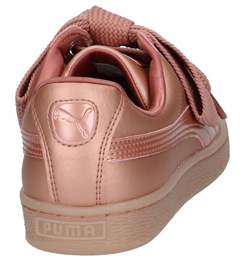 Rose Gold Lage Sneakers Puma Basket Heart in kunstleer (207274)