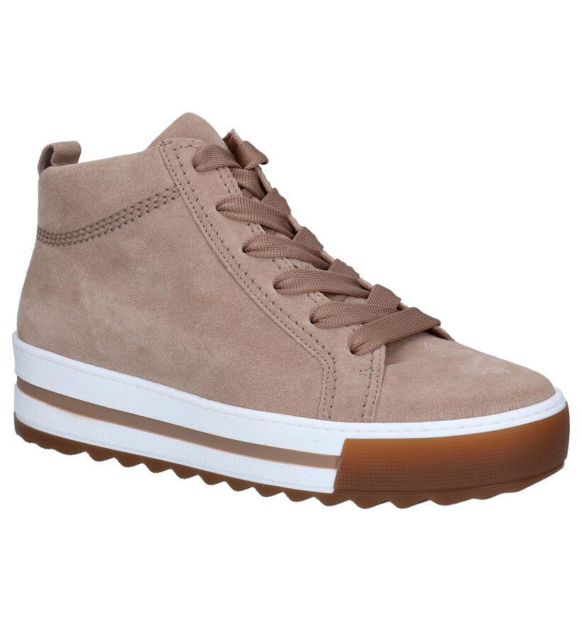 Gabor Optifit Beige Hoge Sneakers in daim (283531)