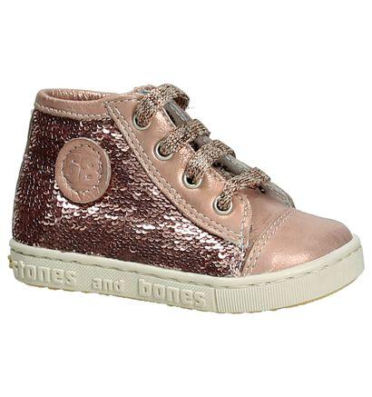 Stones and Bones Roze Boots Rits/Veter, Roze, pdp