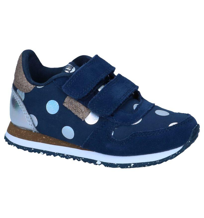 Donkerblauwe Lage Sneakers Woden Wonder Nora dot II in daim (244977)
