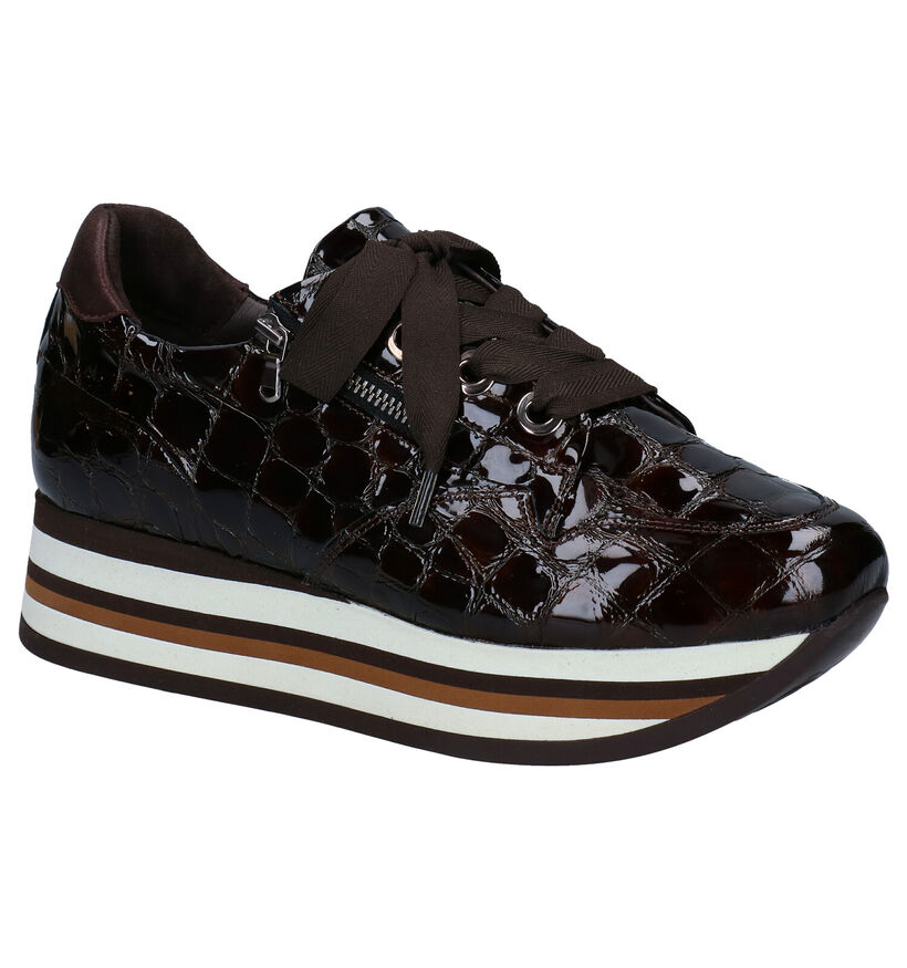 Softwaves Bruine Sneakers in lakleer (281979)