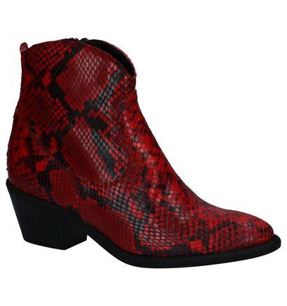 Stoere Rode Western Boots met Slangenprint Via Limone by Torfs, Rood, pdp