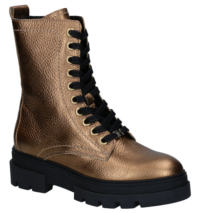 Tommy Hilfiger Rugged Classic Gouden Boots in leer (280002)