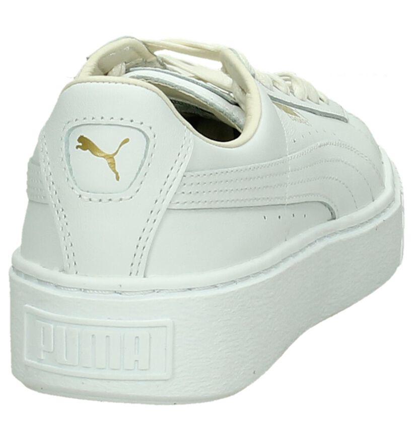 Witte Puma Basket Platform Sneakers in leer (199459)