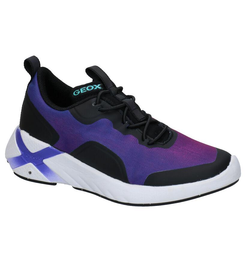 Geox Playkix Paarse Sneakers in kunststof (284110)