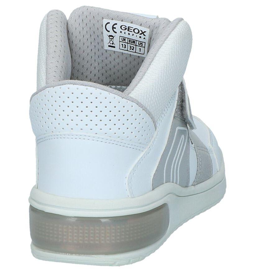 Geox Witte Hoge Sneakers met Lichtjes in stof (223185)