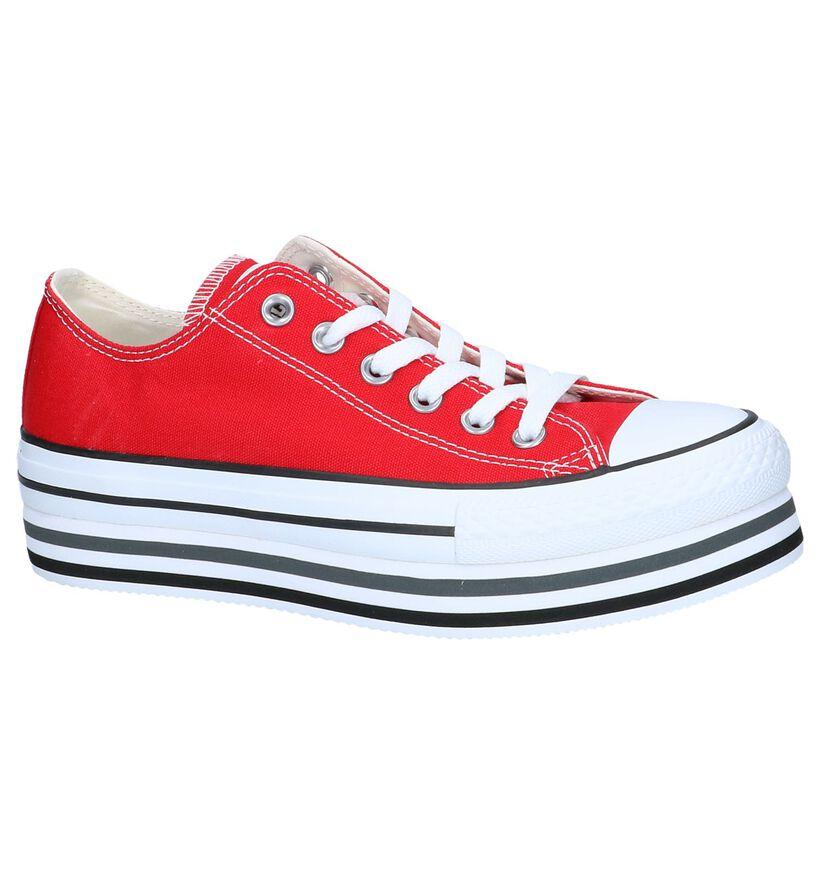 Zwarte Sneakers Converse AS Platform Layer OX in stof (249423)