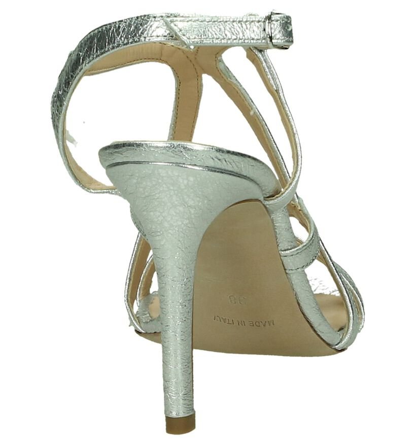 Les Autres Zilveren Sandalen High Heels in leer (197846)